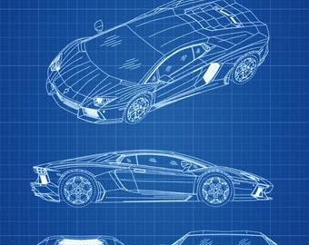 Lamborghini Patent - Patent Print, Wall Decor, Automobile Decor, Automobile Art, Lamborghini Drawing, Lamborghini Blueprint