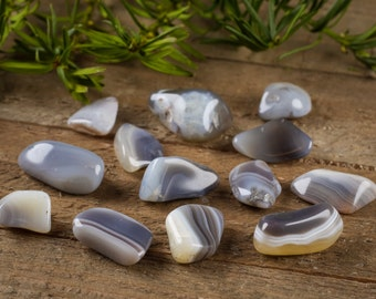 20g Lot Botswana AGATE Polished Stones - Blue Agate Crystal, Banded Agate Stone, Polished Agate, Healing Stone, African Agate Jewelry E0009