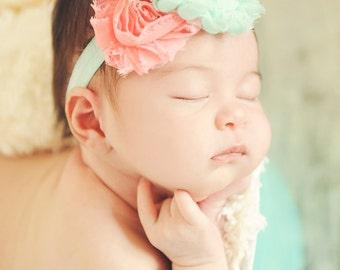 Coral and Aqua shabby chic headband, infant headband, baby headband, newborn photo prop, toddler headband, vintage headband
