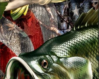 Bass Fish American Flag Camo Cornhole Wrap Bag Toss Decal Baggo Skin Sticker Wraps