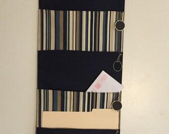 Navy 4 Pocket hanging file folder organizer wall organizer mail organizer wall pocket
