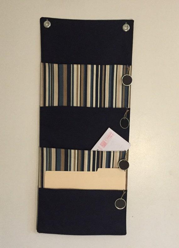 navy 4 pocket hanging file folder organizer wall organizer. Black Bedroom Furniture Sets. Home Design Ideas
