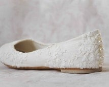 Lace wedding shoes lace flats lace bridal shoes pearl flats white wedding shoes white bridal shoes lace bridal flats women's shoes flats