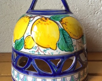 Italian Ceramic Domed Pendant Light Shade decorated with lemons and cobalt blue accents