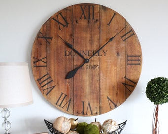 Wedding gift. Custom. Large wooden wall clock. Personalized clock. Customized clock. Family gift. Wall hanging. Oversized clock.