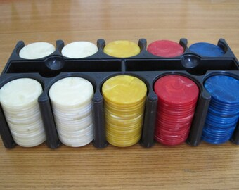 Plastic POKER Chips with Rack, Vintage
