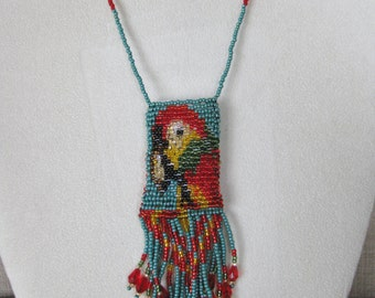 Hand Beaded Parrot Medicine Bag Pouch Necklace - Proceeds to Charity - Parrot Head