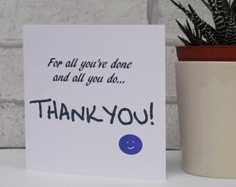 Thank You Card, Thanks Card, Friendship Card, Appreciation Card, Thank You Teacher Card, Best Teacher, Blank Card, You Greetings Card