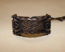 Intertwined leather bracelet, Bracelet pattern weaving, unisex leather bracelet, brown wristband, men's leather bracelet