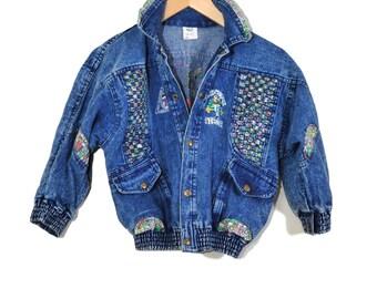 Cropped Denim Jacket / Unicorn Ebroidered Jacket / Vintage Jean Jacket