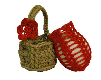Crochet bag and basket for Easter eggs,Handmade Crocheted Easter Egg Purse, Fillable Egg Shaped Purses /Easter Party Favors
