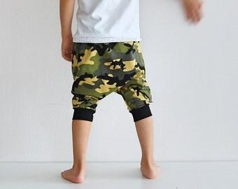 Boy harem pants, summer pants, baby boy shorts, Camo pants, Toddler shorts, boys camo pants, toddler harem shorts, kids camo pants