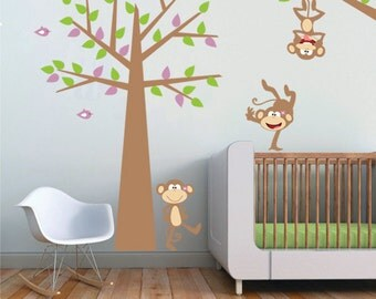 Monkey on Tree Vinyl Wall Decal - Monkey Hanging from a Branch Girls Wall Decal -  Baby Girls Nursery Removable Vinyl Wall Sticker