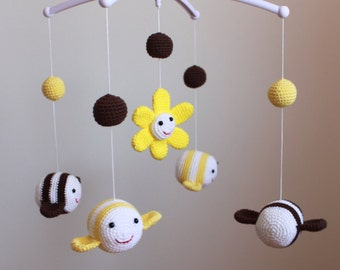 Bee Mobile,Baby Mobile, Nursery Mobile,Yellow and Brown Bee Nursery Decor, Yellow and brown  Bee