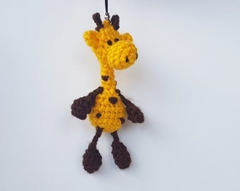 Mothers day Small gift for toddler stuffed animal bag charm knitted toy keychain for kid cute giraffe accessory crochet plush crochet little