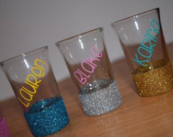 Shot Glasses, Glitter Dipped, Personalized Glitter Shot Glasses, Shot Glass,Friend Gift, Personalized Gift, Glitter Shot Glass, Glitter Gift