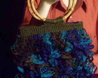Ruffled Purse with bamboo handle