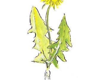 Dandelion note card, dandelion card, garden weed card, flower card, whimsical card flower, dandelion flower card, yellow flower, whimsical