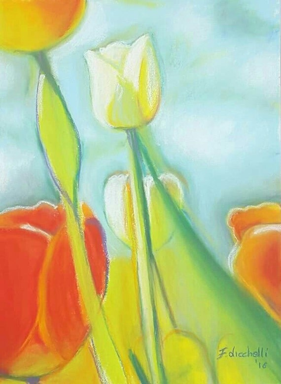 White and orange tulips, soft pastels on Pastelmat paper, baby shower, baptism or birth gift idea, girls bedroom, home office decoration.