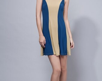SAMPLE SALE // knit dress mini dress colorblock sleeveless blue yellow, one size