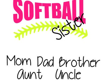 Softball Wording with Stitches and Family Names SVG