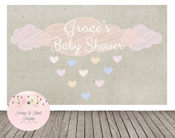 Digital Baby Shower Backdrop, Raining Baby Shower, Rain Shower Baby Shower, Buffet Table, Baby Shower Decorations
