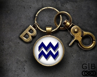 Aquarius Keyring Accessory Aquarius Keychain - February Aquarius Birthday Gift Aquarius Zodiac Keychain - Zodiac Aquarius Keychain Accessory