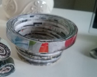 Recycled magazine small bowl