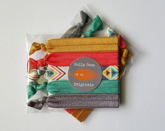 No-Fray Hair Ties, elastic FOE hairties, no crease hair ties, set of 5 no-fray hairties, (aztec desert, bright coral, lucite green)