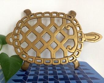 Large Vintage Brass Turtle Tortoise Trivet Pot Holder