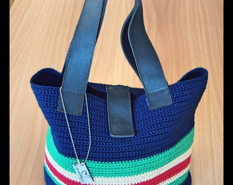 Hand Knit Bag with leader handles