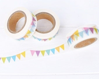 Pennant Banner Washi Tape. 15mm x 10m. Colorful Washi Tape. Birthday Party Washi Tape. Bunting Washi Tape. Planner Supplies. Picnic Washi