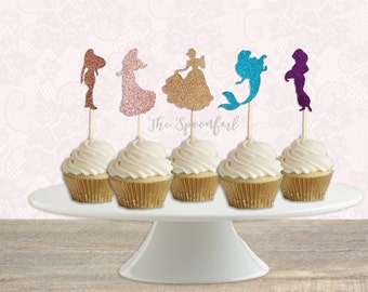 Disney Princess Silhouette, Double Sided Glitter Cupcake Toppers or Centerpieces, Princess Cake Toppers or Centerpieces,