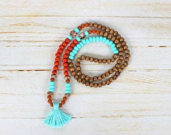 Necklace style wood/turquoise Mala