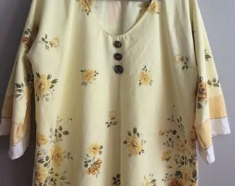 L/XL Tunic - Yellow Floral