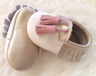 SALE!!! Baby Moccasins, Princess Moccasins, Baby Girl Shoes, Tassel Moccasins, Leather Moccasins, White Baby Shoes, Gold Shoes, Princess