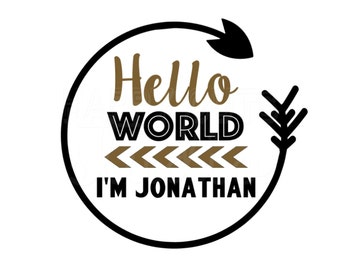 Hello World Baby Boy Coming Home New Baby Boy Going Home Personalized with Name and Colors Iron On Vinyl Decal 419
