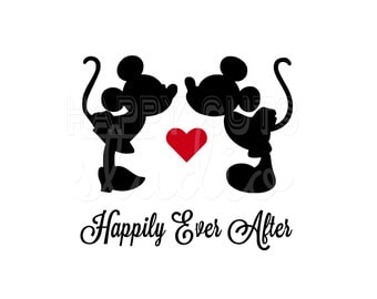 Happily Ever After Kissing / Just Married Wedding Honeymoon Couples Couple Hearts Mickey Minnie Mouse Disney Iron On Decal Vinyl Shirt 068