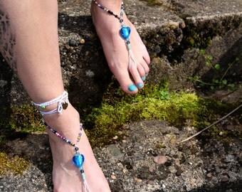 """Barefoot sandals """"blue heart"""""""