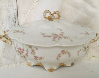"Haviland France ""Norma"" Limoges Round Covered Vegetable Bowl Clark Sawyer Co. Pink/Yellow Flowers Schleiger 233"