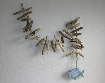 Decorazione conchiglie da parete decoro legno di mare muro for Pesci da esterno