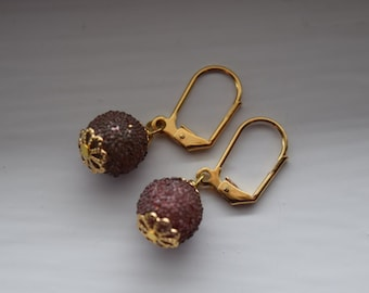 Gold plated glass bead earrings