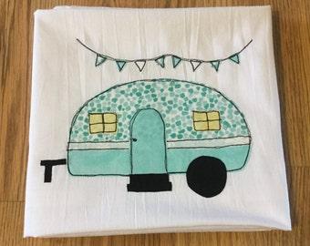 Turquoise vintage retro camper kitchen flour sack tea towel