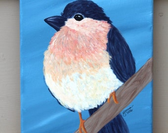 Bluebird on a Branch: Original Acrylic Painting on Stretched Canvas, 8x10 inches