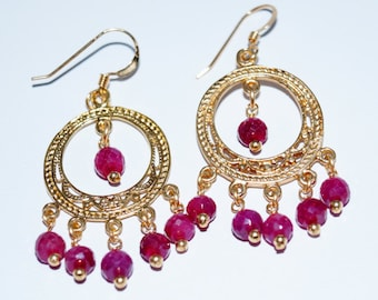 Ruby and Gold-Filled Chandelier Earrings