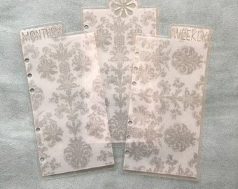 Planner bookmark dividers - personal size, Vellum damask