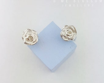 Elegant Silver Rose Stud Earrings | Rose Earrings | Stud Earrings | Flower Earrings *MADE TO ORDER*