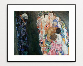 Gustav Klimt Print - Death and Life - Giclee Reproduction - Wall Art - Symbolism - Art Nouveau - Skeleton - Mothers - Babies - Home Decor