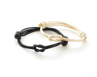 Couples Knot Bracelet - Set of 2 Cord Knotted Bracelet - His and Her Cotton Bracelet - Single Wrap Bracelet, Couples Jewelry, Mens Womens