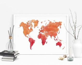 Watercolor world map, Printable wall decor, Watercolor art print, Living room art, Office wall art, Doorm printable decor
